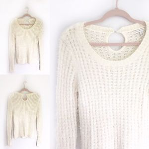 LC Lauren Conrad Ivory Cream Eyelash Knit Sweater